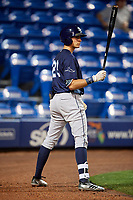 Charlotte Stone Crabs designated hitter Josh Lowe (28) on deck during the second game of a doubleheader against the St. Lucie Mets on April 24, 2018 at First Data Field in Port St. Lucie, Florida.  St. Lucie defeated Charlotte 5-3.  (Mike Janes/Four Seam Images)