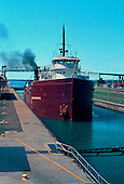 M/V LackawannaM/V Lackawanna movesinto the Soo Locks in Sault Ste Marie, Michigan.