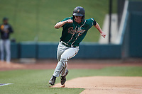 Eli Wilson (29) of the Greensboro Grasshoppers rounds third base during the game against the Winston-Salem Dash at Truist Stadium on August 11, 2021 in Winston-Salem, North Carolina. (Brian Westerholt/Four Seam Images)