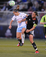 Chicago Red Stars midfielder Brittany Klein (6) heads the ball against  Washington Freedom forward Abby Wambach (20)  Washington Freedom tied Chicago Red Stars 1-1  at The Maryland SoccerPlex, Saturday April 11, 2009.