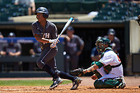 Austin Wilhite (14) of the Georgia Tech Yellow Jackets follows through on his swing against the Miami Hurricanes during game one of the 2017 ACC Baseball Championship at Louisville Slugger Field on May 23, 2017 in Louisville, Kentucky. The Hurricanes walked-off the Yellow Jackets 6-5 in 13 innings. (Brian Westerholt/Four Seam Images)