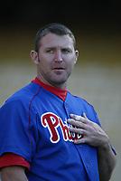 Jim Thome of the Philadelphia Phillies during a 2003 season MLB game at Dodger Stadium in Los Angeles, California. (Larry Goren/Four Seam Images)