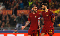 Roma s Daniele De Rossi, left, talks to his teammate Federico Fazio during the Uefa Champions League quarter final second leg football match between AS Roma and FC Barcelona at Rome's Olympic stadium, April 10, 2018.<br /> UPDATE IMAGES PRESS/Riccardo De Luca