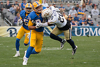 Pitt running back James Conner makes a block. The Pitt Panthers defeated the Georgia Tech Yellow Jackets 37-34 at Heinz Field in Pittsburgh, Pennsylvania on October 08, 2016.