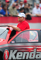Nov. 10, 2011; Pomona, CA, USA; NHRA pro stock driver V. Gaines during qualifying at the Auto Club Finals at Auto Club Raceway at Pomona. Mandatory Credit: Mark J. Rebilas-.