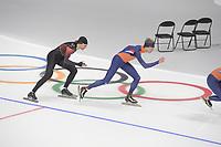OLYMPIC GAMES: PYEONGCHANG: 17-02-2018, Gangneung Oval, Long Track, Training session, Olivier Jean (CAN), Jorrit Bergsma (NED), ©photo Martin de Jong