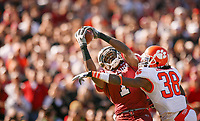 South Carolina's Alshon Jeffery catches a pass from Stephon Gilmore in front of Clemson's Chris Chancellor during an SEC college foogball game at Williams-Brice stadium in Columbia. (Travis Bell/SIDELINE CAROLINA)