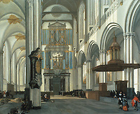 """Emanuel De Witte: Interior of the Nieuwe Kerk, Amsterdam 1657. The """"New"""" church was begun in the 15th C. It burned and was restored just before De  Witte's painting. Reference only."""