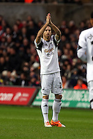Wednesday, 01 January 2014<br /> Pictured: Jose Canas of Swansea applauds team mate Wilfried Bony's attempt to score.<br /> Re: Barclay's Premier League, Swansea City FC v Manchester City at the Liberty Stadium, south Wales.