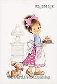 Interlitho, Mercedes, CHILDREN, nostalgic, paintings, girl, cake, dog(KL3543/2,#K#) Kinder, niños, nostalgisch, nostálgico, illustrations, pinturas
