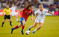 HOUSTON, TX - FEBRUARY 03: Lindsey Horan #9 of the United States defending against Maria Paula Salas #17 of Costa Rica during a game between Costa Rica and USWNT at BBVA Stadium on February 03, 2020 in Houston, Texas.