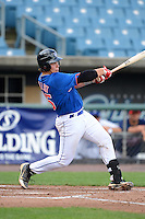 Catcher / first baseman Chase Vallot (25) of St. Thomas More High School in Youngsville, Louisiana playing for the New York Mets scout team during the East Coast Pro Showcase on July 31, 2013 at NBT Bank Stadium in Syracuse, New York.  (Mike Janes/Four Seam Images)