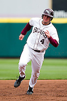 Brent Seifert (4) of the Missouri State Bears heads for third base during a game against the Oral Roberts Golden Eagles on March 27, 2011 at Hammons Field in Springfield, Missouri.  Photo By David Welker/Four Seam Images