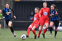 Stephanie Suenens (17) of Woluwe pictured in action in front of Sheila Broos (20) of Woluwe and Ellen Martens (2) of Club Brugge during a female soccer game between Club Brugge Dames YLA and White Star Woluwe on the 12 th matchday of the 2020 - 2021 season of Belgian Scooore Womens Super League , saturday 30 January 2021  in Brugge , Belgium . PHOTO SPORTPIX.BE | SPP | DAVID CATRY
