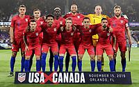ORLANDO, FL - NOVEMBER 15: USMNT starting eleven during a game between Canada and USMNT at Exploria Stadium on November 15, 2019 in Orlando, Florida.