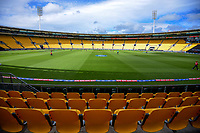 The empty stadium seating during the first international women's T20 cricket match between the New Zealand White Ferns and England at Sky Stadium in Wellington, New Zealand on Wednesday, 3 March 2021. Photo: Dave Lintott / lintottphoto.co.nz