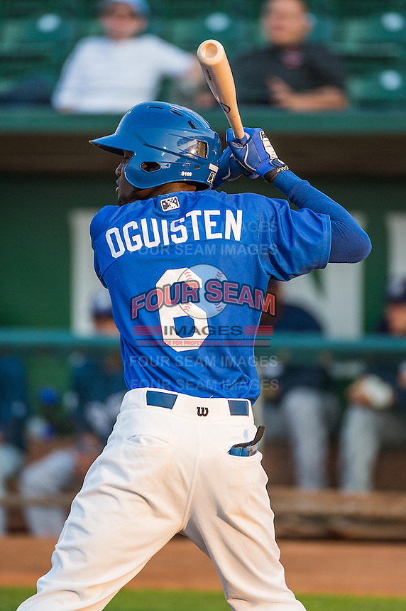 Faustino Oguisten (6) of the Ogden Raptors at bat against the Helena Brewers in Pioneer League action at Lindquist Field on August 19, 2015 in Ogden, Utah.Ogden defeated Helena 4-2.   (Stephen Smith/Four Seam Images)