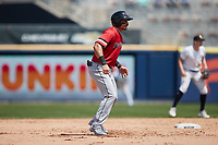 Derek Dietrich (56) of the Rochester Red Wings takes his lead off of second base against the Scranton/Wilkes-Barre RailRiders at PNC Field on July 25, 2021 in Moosic, Pennsylvania. (Brian Westerholt/Four Seam Images)