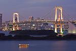 Japan, Tokyo, Odaiba, Rainbow Bridge at Dusk