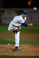 Rancho Cucamonga Quakes relief pitcher Zach Pop (45) follows through on his delivery during a California League game against the Lake Elsinore Storm at LoanMart Field on May 19, 2018 in Rancho Cucamonga, California. Lake Elsinore defeated Rancho Cucamonga 10-7. (Zachary Lucy/Four Seam Images)