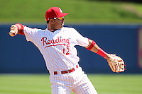 Reading Phillies third baseman Carlos Rivero #12 in the field during a game against the New Hampshire Fisher Cats at FirstEnergy Stadium on May 5, 2011 in Reading, Pennsylvania.  New Hampshire defeated Reading by the score of 10-5.  Photo By Mike Janes/Four Seam Images