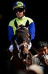 Gabriel Charles with jockey Joe Talamo aboard breaks his maiden at Del Mar Race Course in Del Mar, California on July 21, 2012.