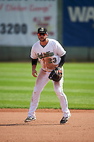 Clinton LumberKings first baseman Pat Leyland (23) during a game against the Great Lakes Loons on August 16, 2015 at Ashford University Field in Clinton, Iowa.  Great Lakes defeated Clinton 3-2.  (Mike Janes/Four Seam Images)