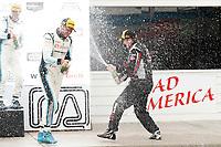 IMSA Continental Tire SportsCar Challenge<br /> Road America 120<br /> Road America, Elkhart Lake, WI USA<br /> Saturday 5 August 2017<br /> 28, Porsche, Porsche Cayman GT4, GS, Dylan Murcott, Dillon Machavern, 59, Ford, Ford Mustang, GS, Dean Martin, Jack Roush Jr, 69, McLaren, McLaren GT4, GS, Chris Green, Jesse Lazare, champagne<br /> World Copyright: Michael L. Levitt<br /> LAT Images