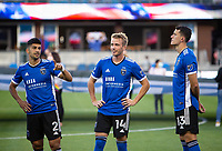 SAN JOSE, CA - AUGUST 17: Luciano Abecasis, Jackson Yueill, Nathan before a game between Minnesota United FC and San Jose Earthquakes at PayPal Park on August 17, 2021 in San Jose, California.