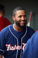 New Hampshire Fisher Cats Richard Urena (4) in the dugout before a game against the Altoona Curve on May 11, 2017 at Peoples Natural Gas Field in Altoona, Pennsylvania.  Altoona defeated New Hampshire 4-3.  (Mike Janes/Four Seam Images)