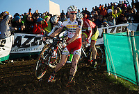 29 NOV 2014 - MILTON KEYNES, GBR - Klaas Vantornout (BEL) from Belgium, and the Sunweb-Napoleon Games Cycling Team, carries his bike over a muddy section during the men's 2014-2015 UCI Cyclo-Cross World Cup round at Campbell Park in Milton Keynes, Great Britain (PHOTO COPYRIGHT © 2014 NIGEL FARROW, ALL RIGHTS RESERVED)
