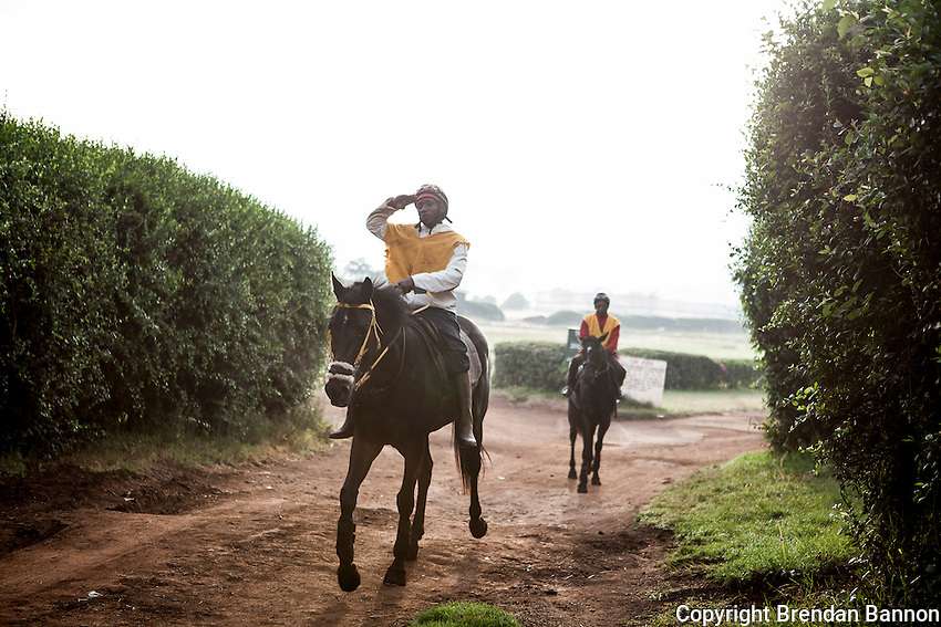 Jockey Paul Kiarie left the gallops after a morning canter at Ngong Racecourse in Nairobi, Kenya. Nairobi, Kenya. March 16, 2013 Photo: Brendan Bannon