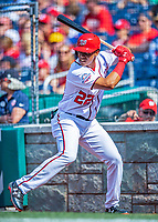 20 May 2018: Washington Nationals outfielder Juan Soto stands on deck moments before his first Major League appearance, pinch hitting in the 8th inning against the Los Angeles Dodgers at Nationals Park in Washington, DC. The Dodgers defeated the Nationals 7-2, sweeping their 3-game series. Mandatory Credit: Ed Wolfstein Photo *** RAW (NEF) Image File Available ***