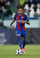 Football Soccer: UEFA Champions UEFA Champions League quarter final first leg Juventus-Barcellona, Juventus stadium, Turin, Italy, April 11, 2017. <br /> Barcellona's Neymar in action during the Uefa Champions League football match between Juventus and Barcelona at the Juventus stadium, on April 11 ,2017.<br /> UPDATE IMAGES PRESS/Isabella Bonotto