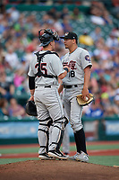 Tri-City ValleyCats catcher Korey Lee (35) and pitcher Juan Pablo Lopez (18) during a NY-Penn League game against the Brooklyn Cyclones on August 17, 2019 at MCU Park in Brooklyn, New York.  Brooklyn defeated Tri-City 2-1.  (Mike Janes/Four Seam Images)
