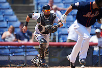 Richmond Flying Squirrels catcher Eliezer Zambrano (2) makes a play on a bunt during a game against the Binghamton Mets on June 26, 2016 at NYSEG Stadium in Binghamton, New York.  Binghamton defeated Richmond 7-2.  (Mike Janes/Four Seam Images)
