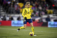 COLUMBUS, OH - NOVEMBER 07: Nathalie Bjorn #5 of Sweden moves with the ball during a game between Sweden and USWNT at MAPFRE Stadium on November 07, 2019 in Columbus, Ohio.