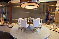 """Stock photo of """"floating"""" ultra modern residential dining room"""