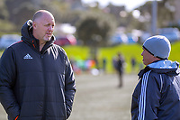 NZ Rugby's Steve Lancaster and Bryce Lawrence on day one of the 2019 Air NZ Rippa Rugby Championship at Wakefield Park in Wellington, New Zealand on Monday, 26 August 2019. Photo: Dave Lintott / lintottphoto.co.nz