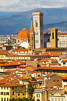 Palazzio Vecchio over rooftops - Florence Italy.