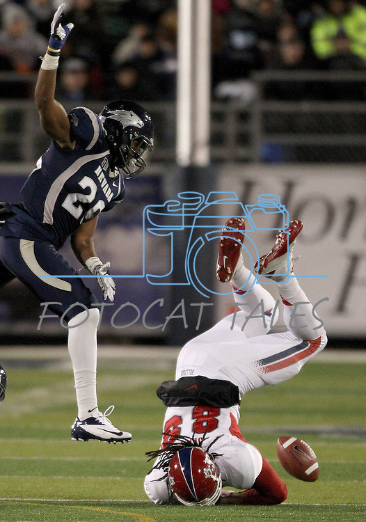 Fresno State's Marcel Jensen (89) fumbles the ball on a play against Nevada during the first half of an NCAA college football game in Reno, Nev., on Saturday, Nov. 10, 2012. Fresno State recovered the ball.(AP Photo/Cathleen Allison)