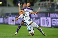 21th September 2021; Stadio Artemio Franchi, Firenze, Italy; Italian Serie A football, AC Fiorentina versus  FC Inter; Edin Dzeko of Inter fouled by Cristiano Biraghi of Fiorentina