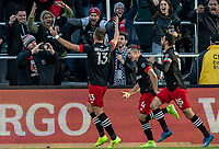 WASHINGTON, DC - MARCH 07: Frédéric Brillant #13 of DC United celebrates after scoring with Steven Birnbaum #15 of and Russell Canouse during a game between Inter Miami CF and D.C. United at Audi Field on March 07, 2020 in Washington, DC.