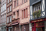 Traditional Shop Fronts and Buildings in Rouen, Normandy, France