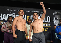 """ONTARIO - DECEMBER 20:  Karlos Balderas and Rene Tellez Giron at the weigh in for the December 21 fight on the Fox Sports PBC """"Harrison v Charlo"""" on December 20, 2019 in Ontario, California. (Photo by Frank Micelotta/Fox Sports/PictureGroup)"""