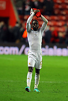 Saturday 10 November 2012<br /> Pictured: Nathan Dyer of Swansea thanks supporters at the end of the game<br /> Re: Barclay's Premier League, Southampton FC v Swansea City FC at St Mary's Stadium, Southampton, UK.