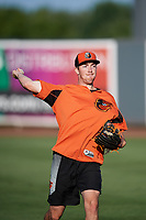 Aberdeen IronBirds pitcher Ryan Conroy (49) warms up before a game against the Staten Island Yankees on August 23, 2018 at Leidos Field at Ripken Stadium in Aberdeen, Maryland.  Aberdeen defeated Staten Island 6-2.  (Mike Janes/Four Seam Images)