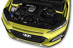 Car Stock 2018 Hyundai Kona Limited 5 Door SUV Engine  high angle detail view