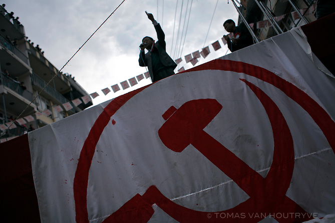 A communist speaker rallies the crowd at a campaign event for Nepal's Maoist party in Kirtipur on the outskirts of Kathmandu, Nepal on 6 April, 2008. Maoist leader Prachanda spoke at the final rally before the Constituent Assebly elections scheduled for 10 April.