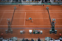 9th October 2020, Roland Garros, Paris, France; French Open tennis, Roland Garr2020;   Rafael NADAL ESP hits a return during his match against Diego SCHWARTZMAN ARG in the Philippe Chatrier court during the Semifinal of the French Open tennis tournament at Roland Garros